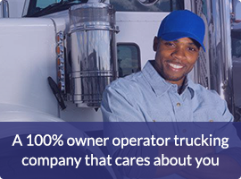 A 100% percent owner operator trucking company that cares about you